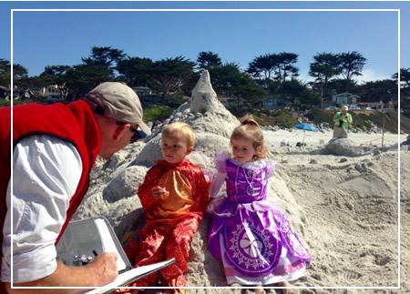 bobby judging a sand castle contest on carmel beach